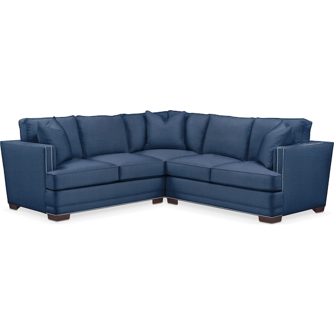 Living Room Furniture - Arden 2 Pc. Sectional with Right Arm Facing Loveseat- Comfort in Hugo Indigo