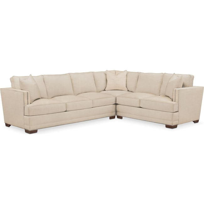 Living Room Furniture - Arden 2 Pc. Sectional with Left Arm Facing Sofa- Comfort in Victory Ivory