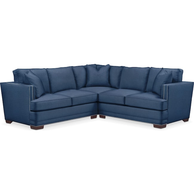 Living Room Furniture - Arden 2-Piece Sectional with Left-Facing Loveseat - Comfort in Hugo Indigo