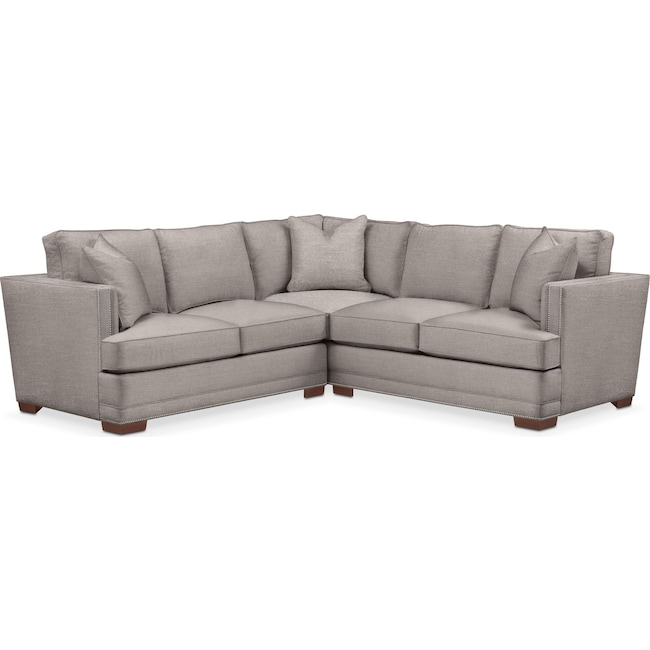 Living Room Furniture - Arden 2 Pc. Sectional with Left Arm Facing Loveseat- Comfort in Curious Silver Rine