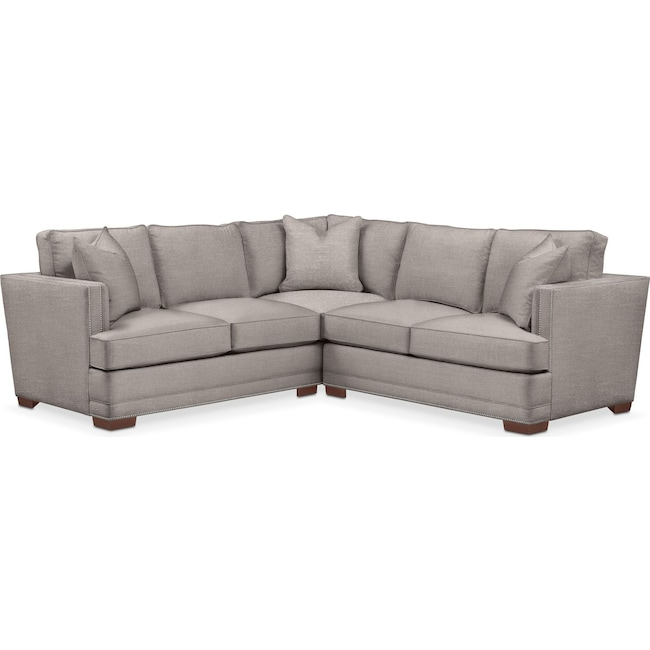 Living Room Furniture - Arden 2-Piece Sectional with Right-Facing Loveseat - Comfort in Curious Silver Rine