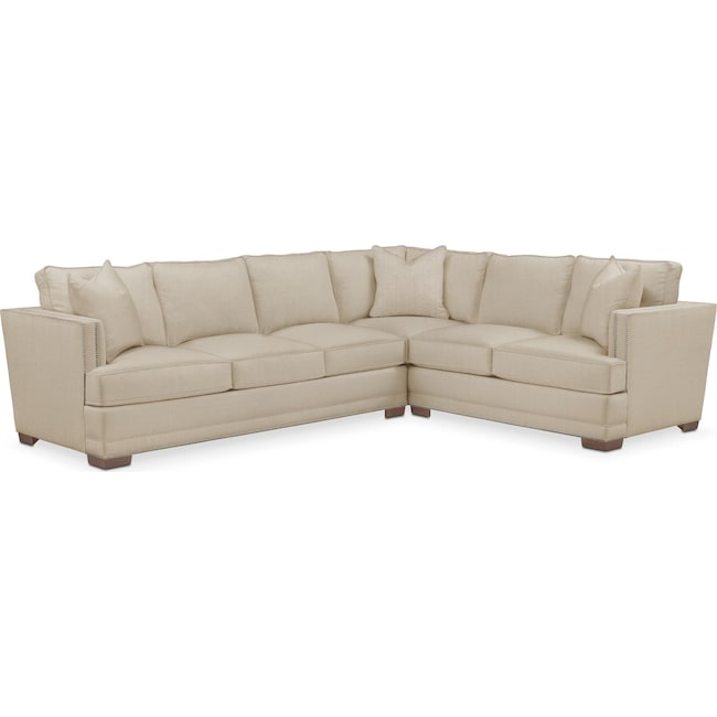 Living Room Furniture - Arden 2 Pc. Sectional with Left Arm Facing Sofa- Comfort in Depalma Taupe
