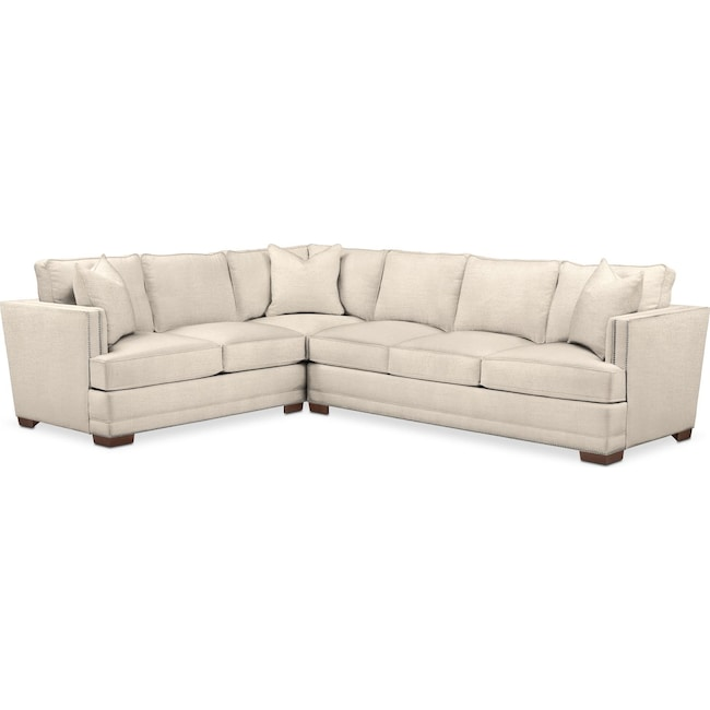 Living Room Furniture - Arden 2 Pc. Sectional with Right Arm Facing Sofa- Comfort in Curious Pearl