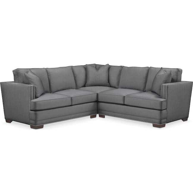 Living Room Furniture - Arden 2 Pc. Sectional with Left Arm Facing Loveseat- Comfort in Depalma Charcoal
