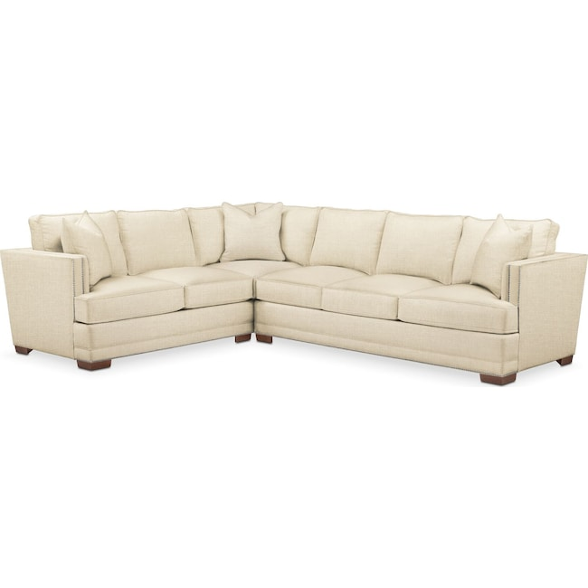 Living Room Furniture - Arden 2 Pc. Sectional with Right Arm Facing Sofa- Comfort in Anders Cloud