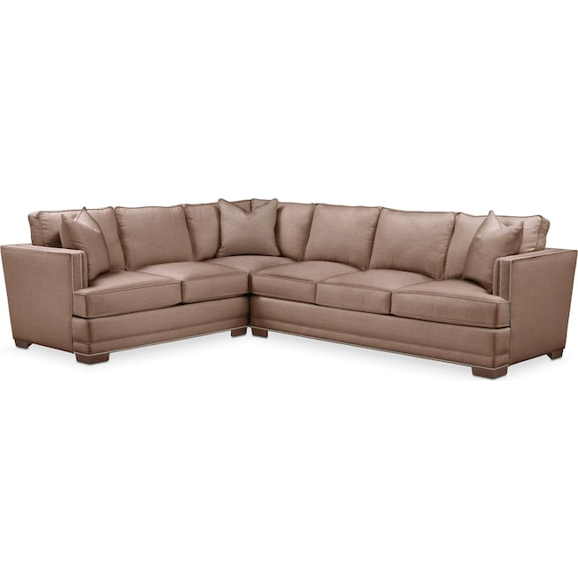 Living Room Furniture - Arden 2-Piece Sectional with Right-Facing Sofa - Comfort in Abington TW Antler