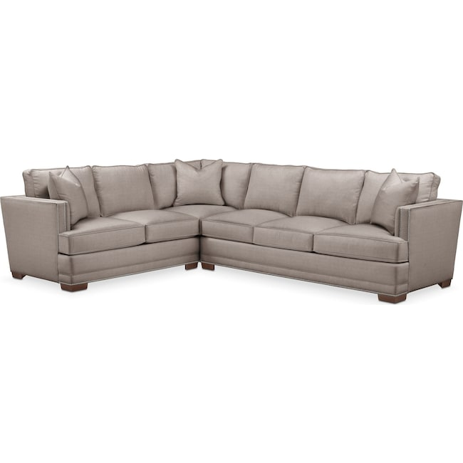 Living Room Furniture - Arden 2-Piece Sectional with Right-Facing Sofa - Comfort in Abington TW Fog