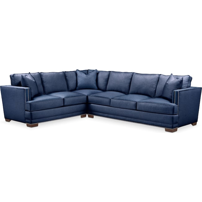 Living Room Furniture - Arden 2 Pc. Sectional with Right Arm Facing Sofa- Comfort in Abington TW Indigo
