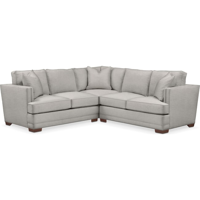 Living Room Furniture - Arden 2-Piece Sectional with Right-Facing Loveseat - Comfort in Dudley Gray