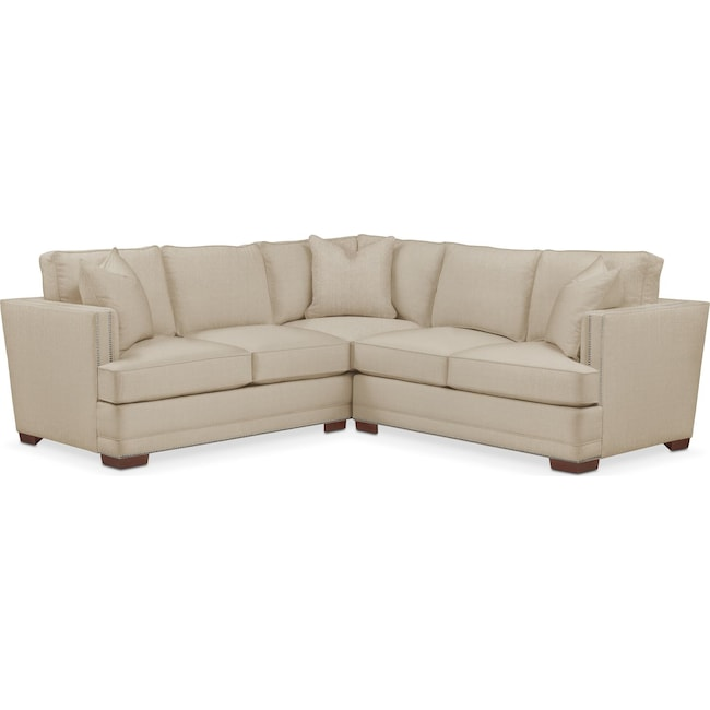 Living Room Furniture - Arden 2-Piece Sectional with Right-Facing Loveseat - Comfort in Depalma Taupe