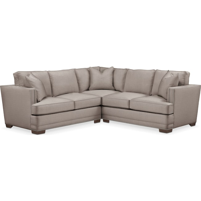 Living Room Furniture - Arden 2-Piece Sectional with Left-Facing Loveseat - Comfort in Abington TW Fog