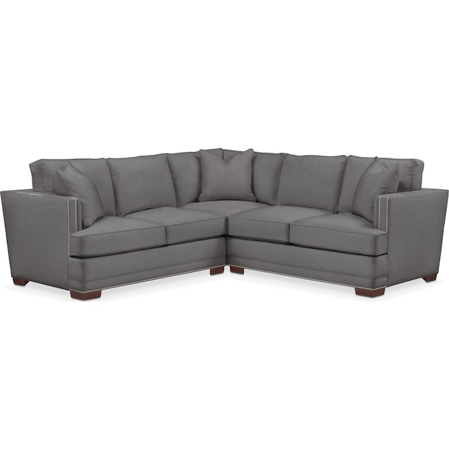 Living Room Furniture - Arden 2 Pc. Sectional with Left Arm Facing Loveseat- Comfort in Hugo Graphite