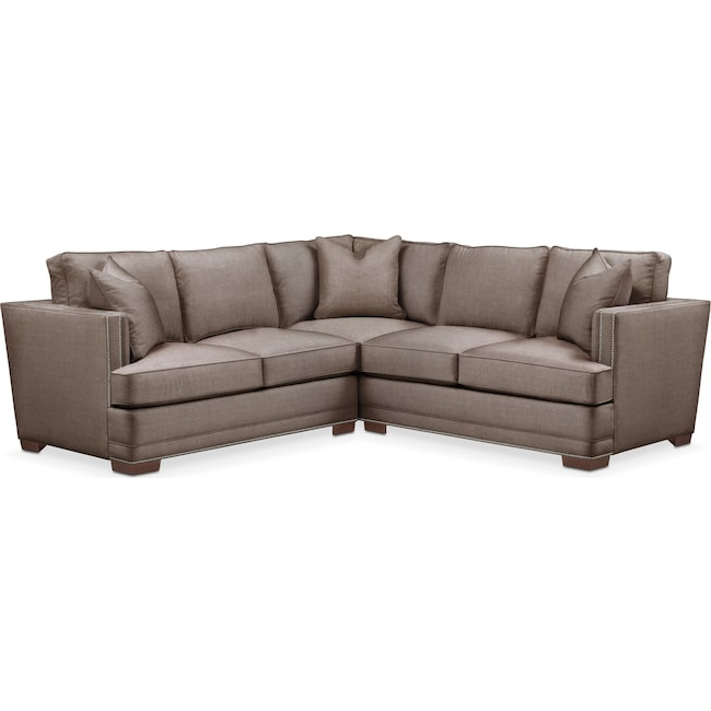 Living Room Furniture - Arden 2 Pc. Sectional with Left Arm Facing Loveseat- Comfort in Hugo Mocha