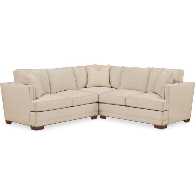 Living Room Furniture - Arden 2 Pc. Sectional with Left Arm Facing Loveseat- Comfort in Victory Ivory