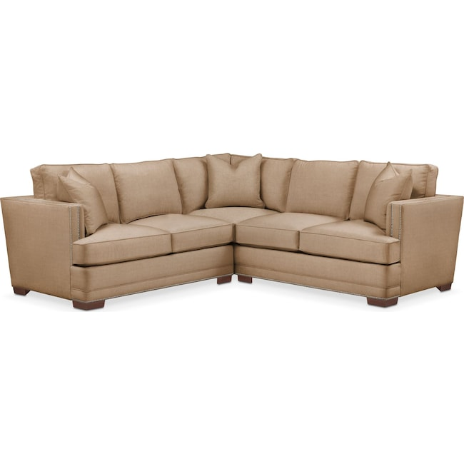 Living Room Furniture - Arden 2 Pc. Sectional with Left Arm Facing Loveseat- Comfort in Hugo Camel