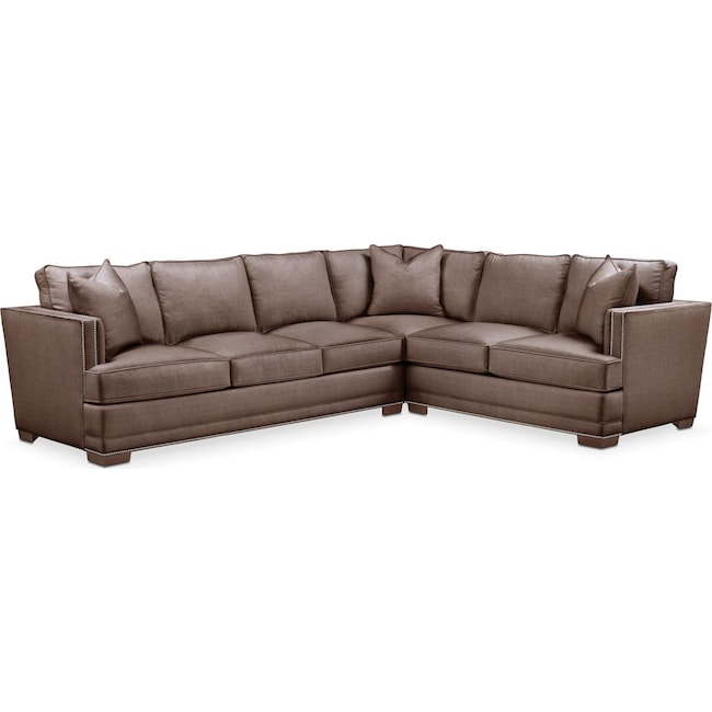 Living Room Furniture - Arden 2-Piece Sectional with Left-Facing Sofa - Comfort in Oakley III Java