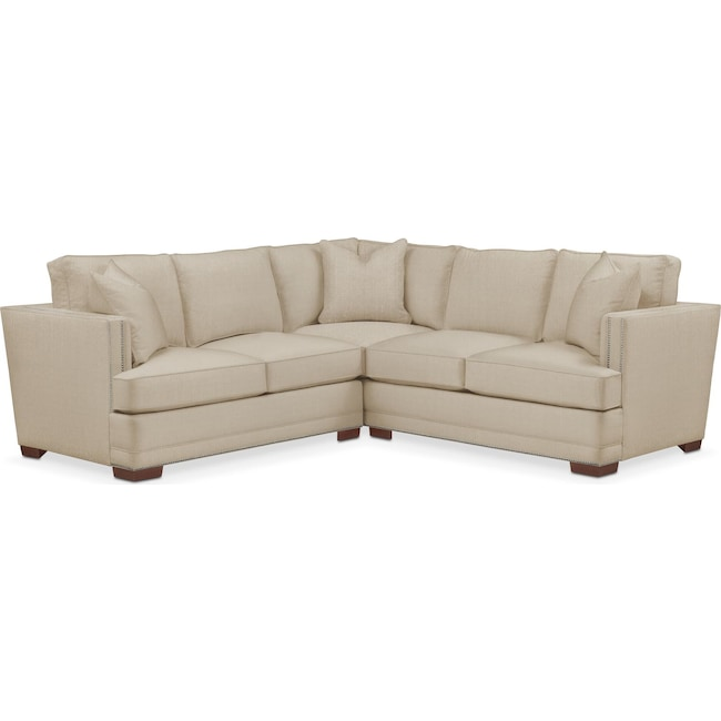 Living Room Furniture - Arden 2 Pc. Sectional with Left Arm Facing Loveseat- Comfort in Depalma Taupe