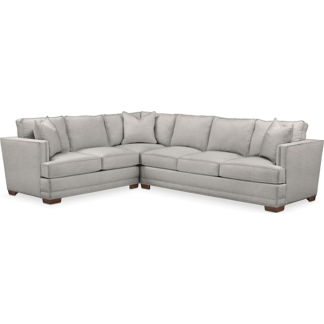 Living Room Furniture - Arden 2 Pc. Sectional with Right Arm Facing Sofa- Comfort in Dudley Gray
