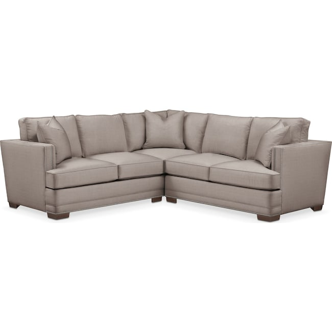 Living Room Furniture - Arden 2-Piece Sectional with Right-Facing Loveseat - Comfort in Abington TW Fog