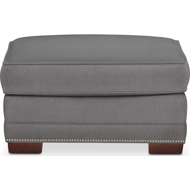 Living Room Furniture - Arden Ottoman- Comfort in Hugo Graphite