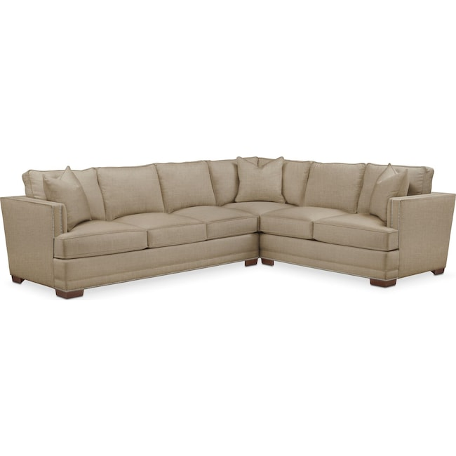 Living Room Furniture - Arden 2 Pc. Sectional with Left Arm Facing Sofa- Comfort in Milford II Toast