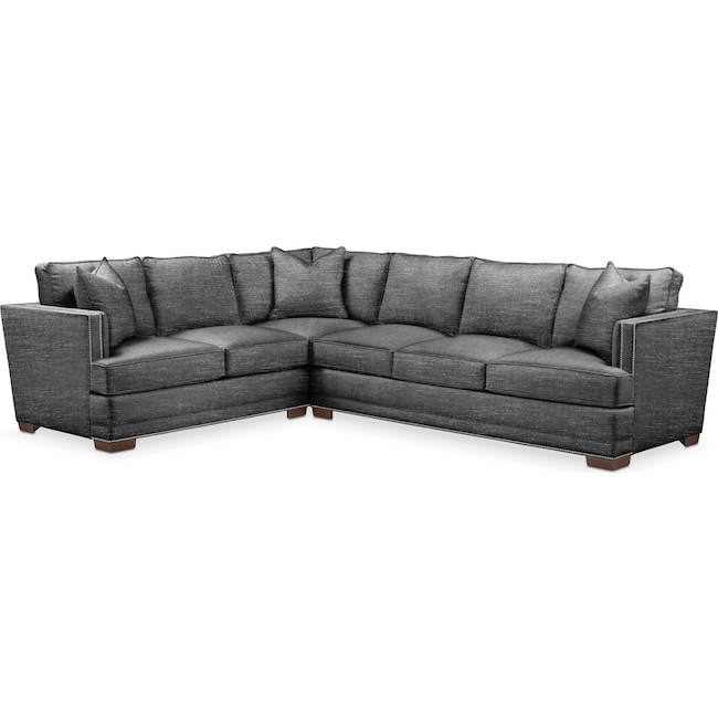 Living Room Furniture - Arden 2 Pc. Sectional with Right Arm Facing Sofa- Comfort in Curious Charcoal