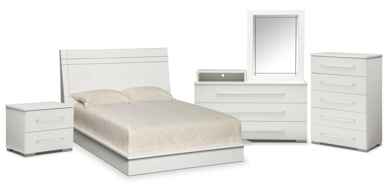 $1,149.85 Dimora 7 Piece King Panel Bedroom With Media Dresser   White