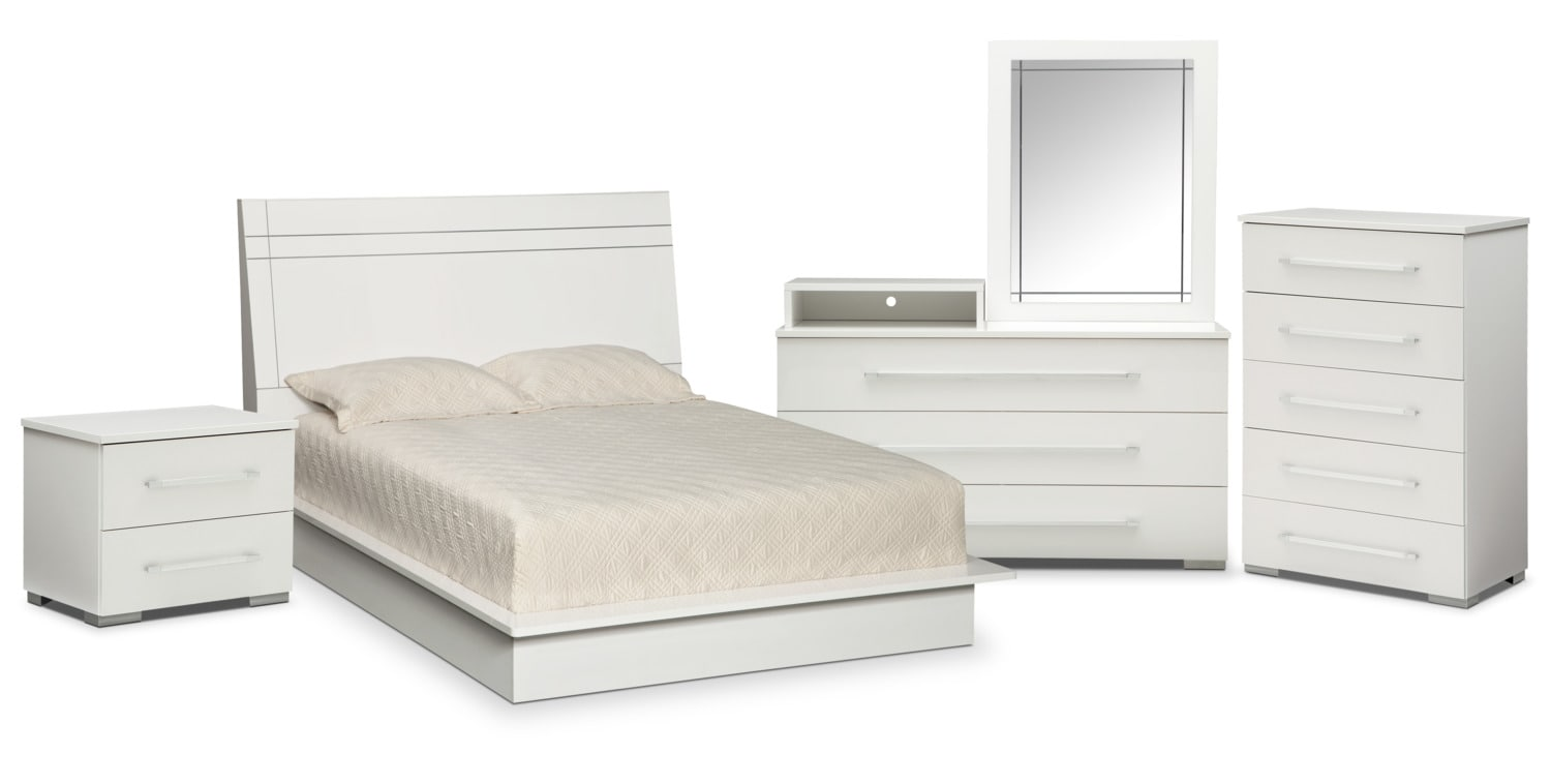 Bedroom Furniture   Dimora 7 Piece Queen Panel Bedroom Set With Media  Dresser   White