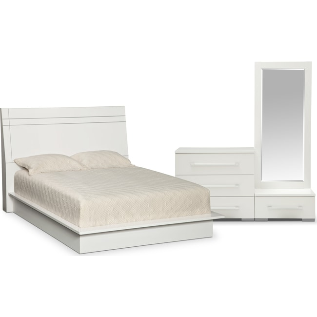 Bedroom Furniture - Dimora 5-Piece Queen Panel Bedroom Set - White