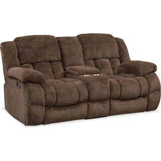 Turbo Manual Reclining Loveseat - Chocolate