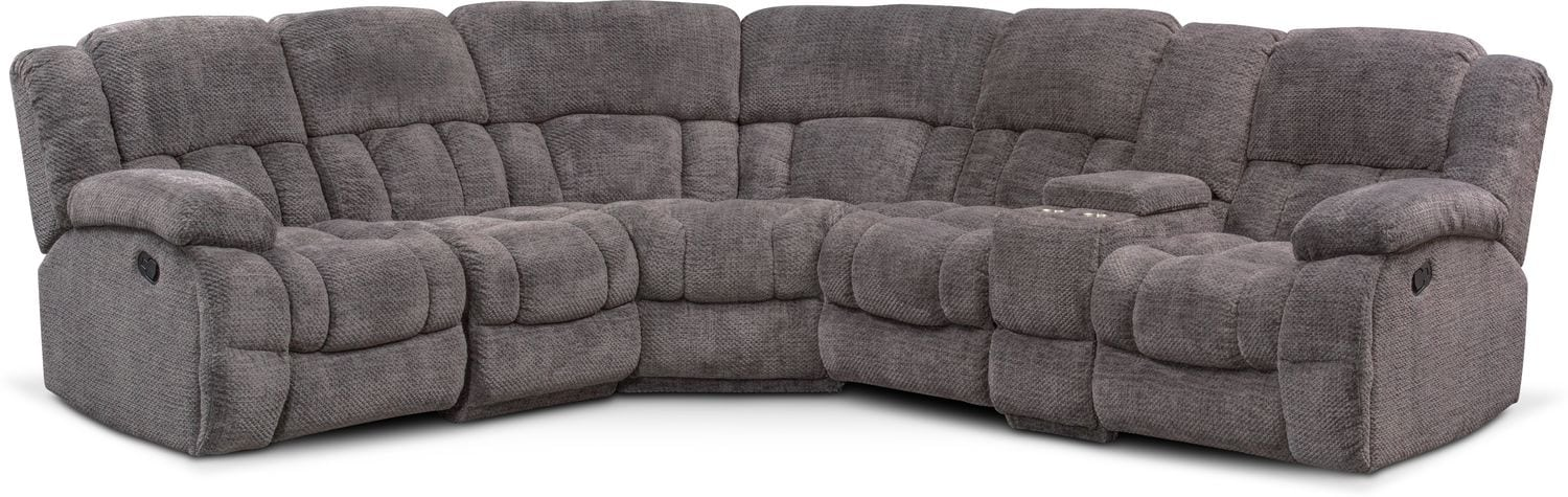 Living Room Furniture - Turbo 6-Piece Manual Reclining Sectional with 3 Reclining Seats