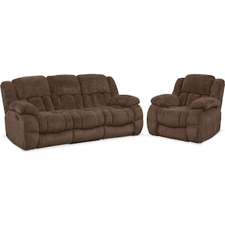 Turbo Manual Reclining Sofa and Glider Recliner Set