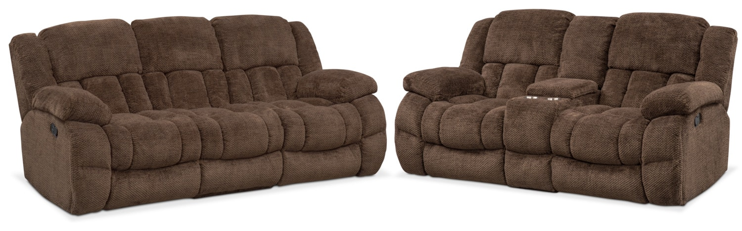 Living Room Furniture - Turbo Reclining Sofa and Reclining Loveseat Set