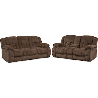Turbo Manual Reclining Sofa and Reclining Loveseat Set