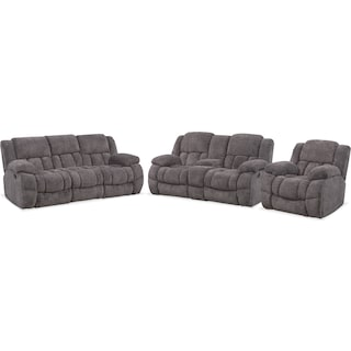 Turbo Manual Reclining Sofa, Loveseat and Glider Recliner Set - Pewter