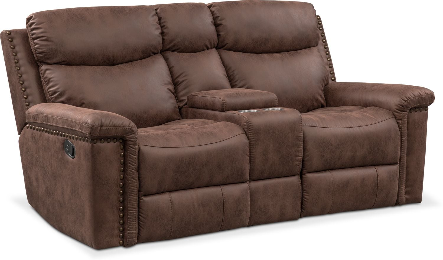 Living Room Furniture - Montana Manual Reclining Loveseat with Console