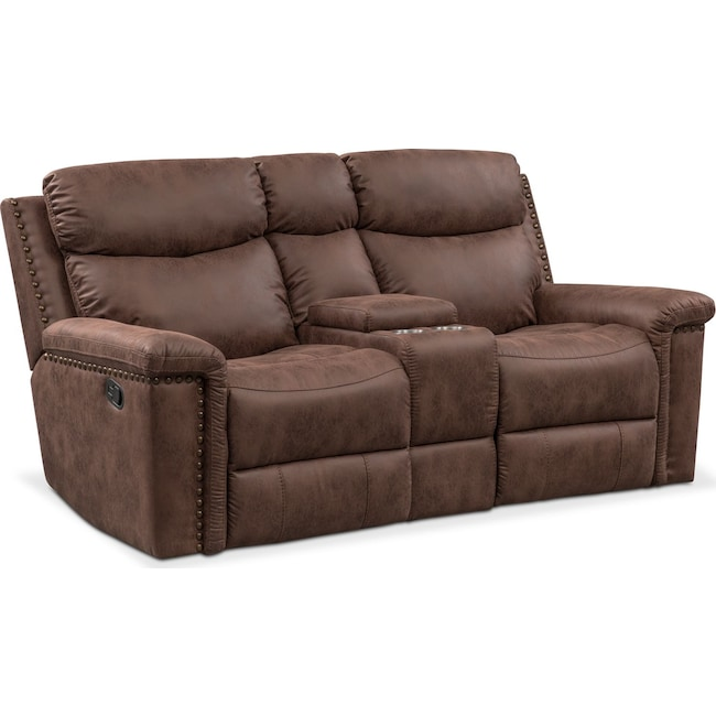 Living Room Furniture - Montana Dual Manual Reclining Loveseat with Console - Brown