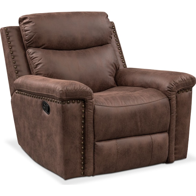 Living Room Furniture - Montana Manual Recliner - Brown