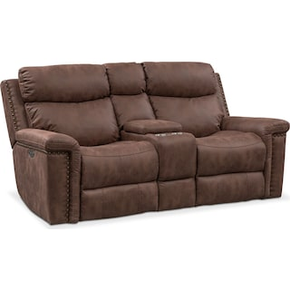Montana Dual Power Reclining Loveseat with Console - Brown