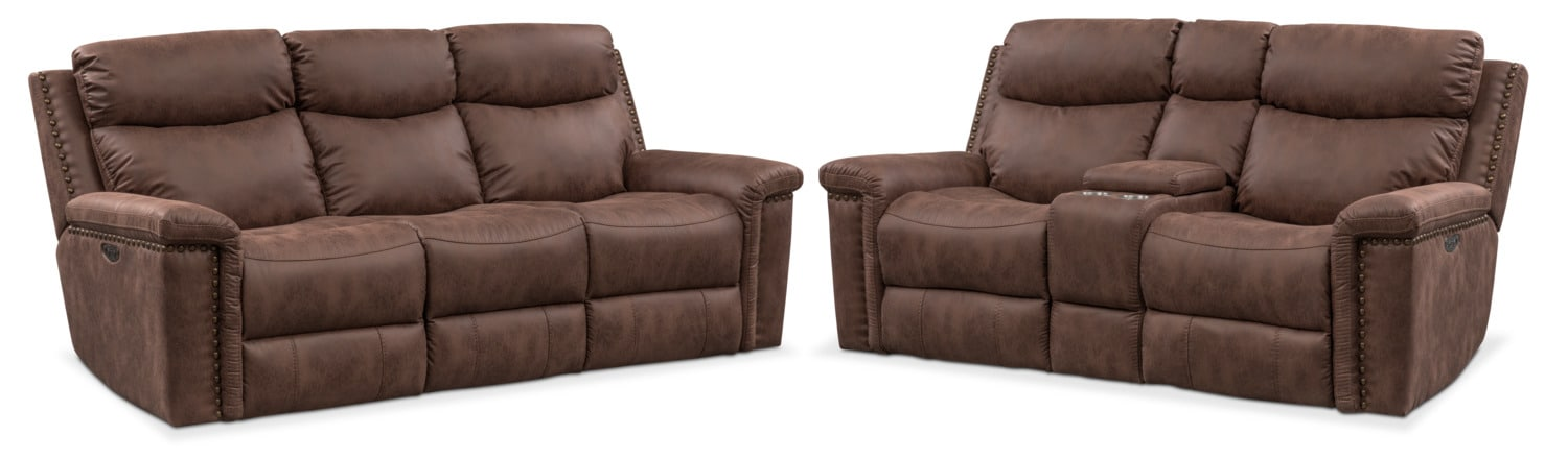 Living Room Furniture - Montana Dual-Power Reclining Sofa and Reclining Loveseat Set