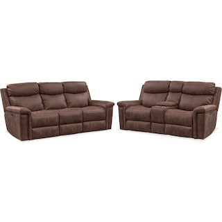 Montana Dual-Power Reclining Sofa and Reclining Loveseat Set