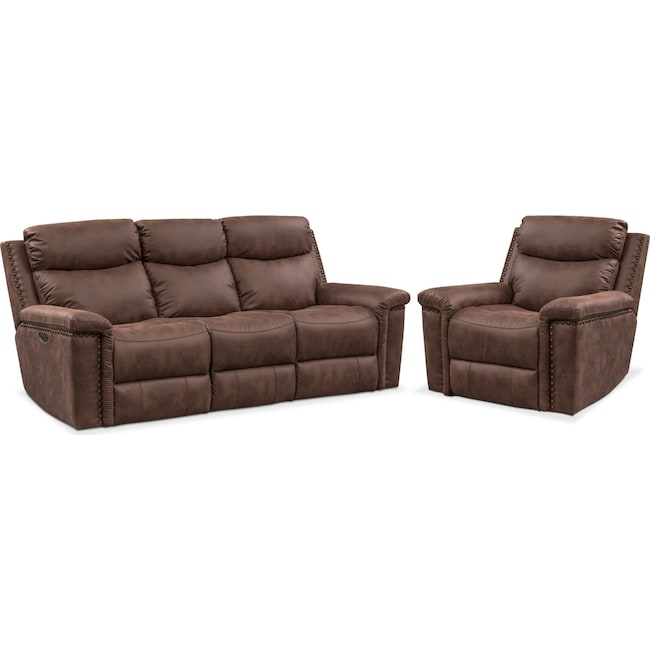 Living Room Furniture Montana Dual Reclining Sofa And Recliner Set Brown