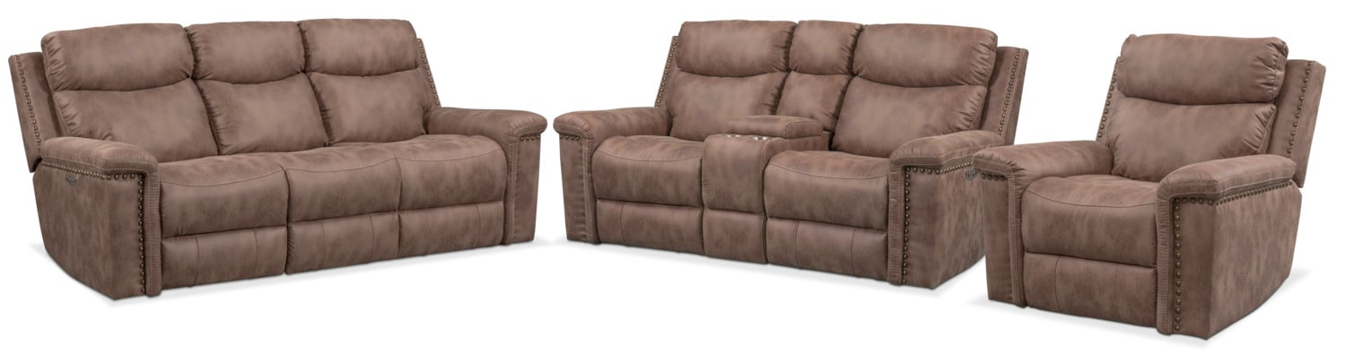 Montana Dual Reclining Sofa Loveseat And Recliner Set Taupe