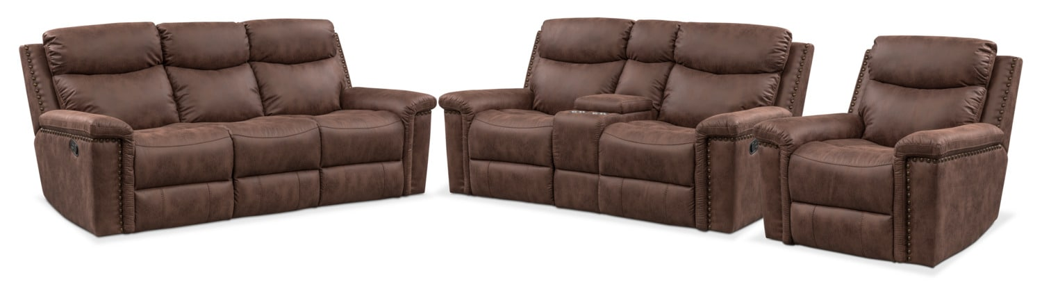 Montana Dual Manual Reclining Sofa Reclining Loveseat And