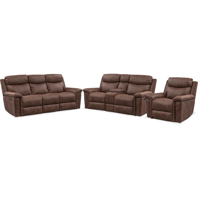 Living Room Furniture - Montana Dual Manual Reclining Sofa, Reclining Loveseat and Recliner Set - Brown