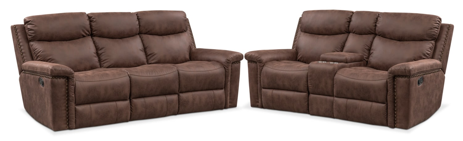 Living Room Furniture - Montana Manual Reclining Sofa and Loveseat Set