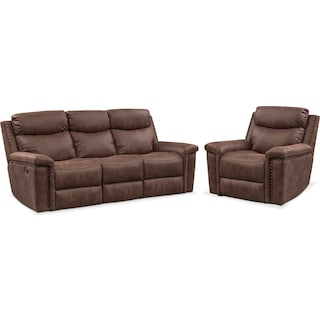 Montana Manual Reclining Sofa and Recliner Set - Brown