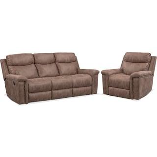 Montana Dual Manual Reclining Sofa and Recliner Set - Taupe