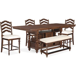 Charleston Counter-Height Dining Table, 4 Stools and Bench - Tobacco