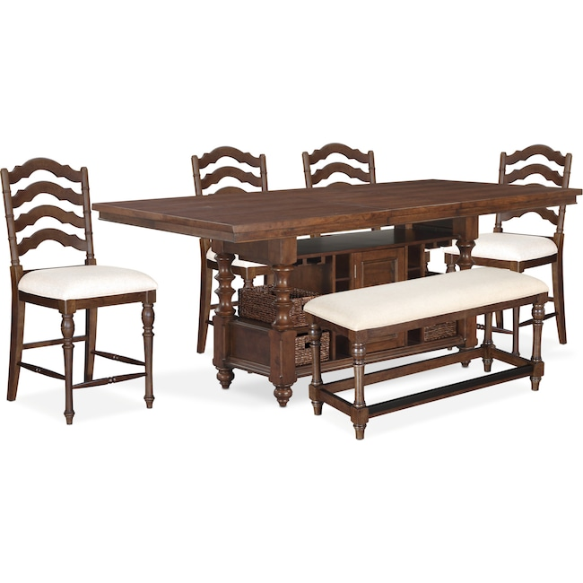 Dining Room Furniture - Charleston Counter-Height Dining Table, 4 Stools and Bench - Tobacco